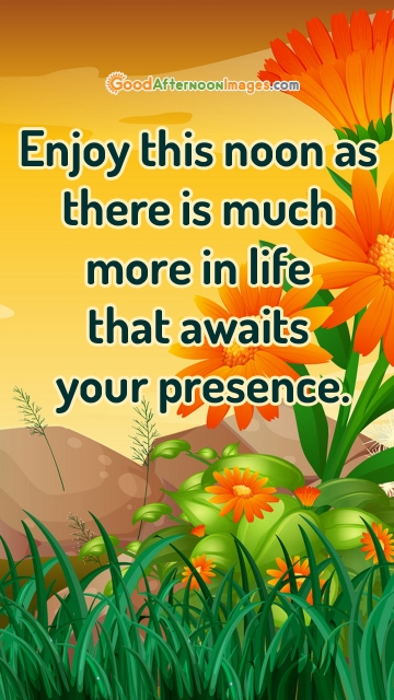 Enjoy This Noon As There is Much More In Life That Awaits Your Presence.