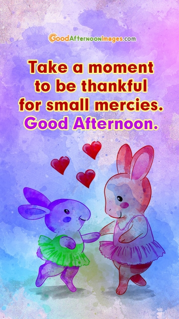 Take A Moment To Be Thankful For Small Mercies. Good Afternoon.
