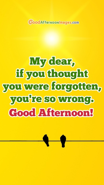 My Dear, If You Thought You Were Forgotten, You're So Wrong. Good Afternoon!