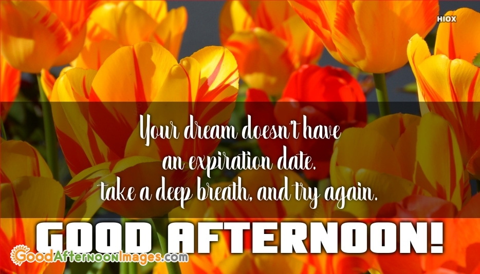 Good Afternoon Quote About Dream | Your Dream Doesn't Have An Expiration Date. Take A Deep Breath, and Try Again.