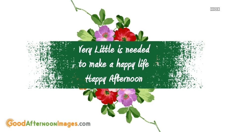 Good Afternoon Wishes Motivational Quote | Very Little is Needed To Make A Happy Life