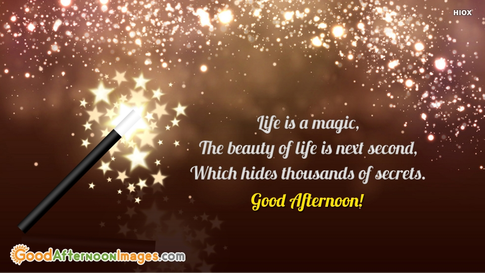 Life is A Magic, The Beauty Of Life is Next Second, Which Hides Thousands Of Secrets. Good Afternoon!